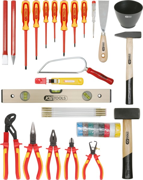 KS Tools Basic Elektriker-Werkzeugkoffer, Rinderlederkoffer, 30-tlg