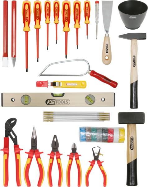 KS Tools Basic Elektriker-Werkzeugkoffer, Metallkiste, 30-tlg